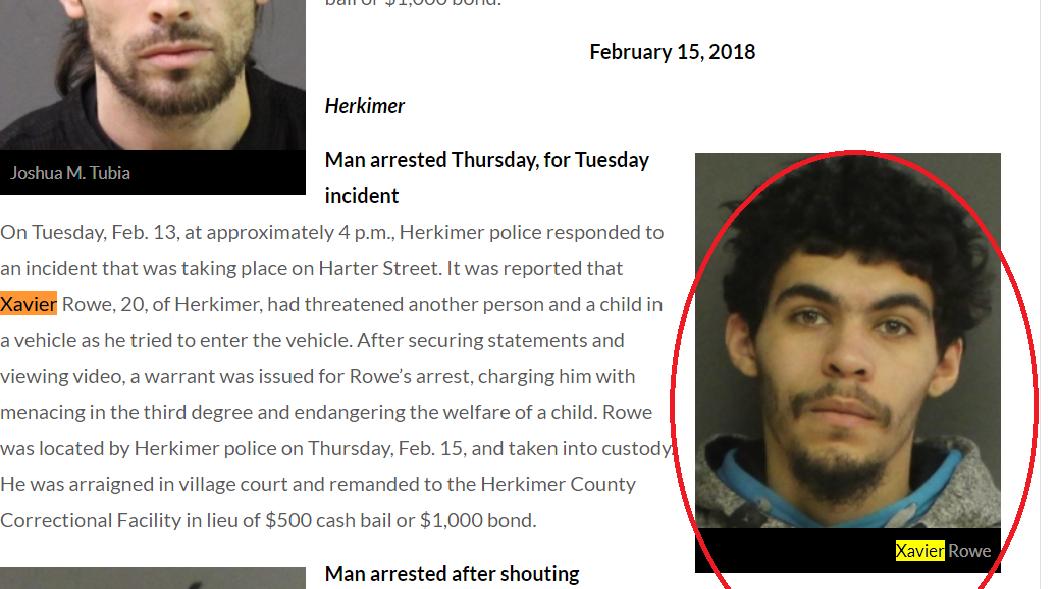 .Xavier Rowe Arrested Herkimer mugshot